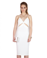 Dresses|Playsuits  - Milly Plunge Neck Bodycon Dress- White