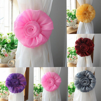 Home Textiles & Accessories|Curtain Accessories  - 1 Pair Rose Flower Window Curtain Tieback Clip-on Fastener For Home Decor