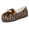 Leopard Fur Lining Bowknot Slip On Cute Flat Warm Lazy Shoes