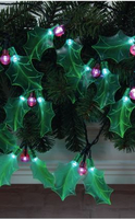 Garden  - Holly Sprigs Light Chain With 20 Warm White LEDs