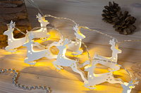 Garden  - White Metal Reindeer Light Chain with 20LEDs