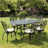 Garden Chairs|Garden Furniture Suites Sussex Black Cast Aluminium Seven Piece 1.5m Patio Dining Set