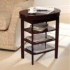 Garden Furniture Swivel Top Side Table in Mahogany Style Finish