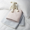 100% Cotton Silk Trimmed Baby Blanket - Baby Blue