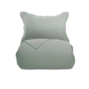 100% Pure French Linen - Soft Green - Fitted Sheet (30cm) - Superking