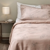 Luxury Vintage Floral Linen Bed Linen Set - Double - Coral (Duvet Cover + Standard Pillowcase Pair)