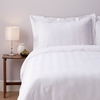 Satin Stripe Cotton Bed Linen - Double Duvet Cover - White
