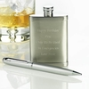 Personalised Hip Flask and Pen Set