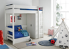 Beds Modena High Sleeper Bed Frame with Compact Wardrobe & Blue Chair Bed