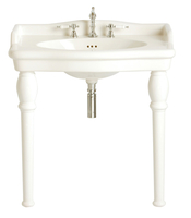 Wash Basins  - Heritage Victoria PVEW463 3 Tap Hole White Single Console Basin