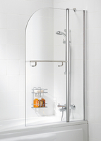 Shower Curtains  - Lakes Curved Double Panel Bath Screen Silver - SS22 05