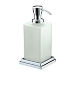 Toilet Roll Holders  - Qube Free Standing Frosted Glass Soap Dispenser