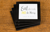 Eat,  Drink and Be Merry Personalised Coasters