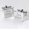 Engraved Cufflinks - Names & Birthday