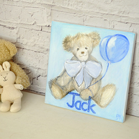Hand Painted Childrens Canvas - Teddy With Balloon