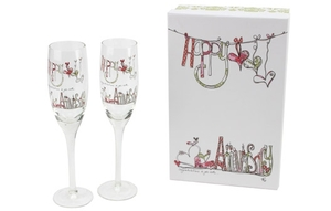 Personalised Gifts  - Happy Anniversary Champagne Flutes