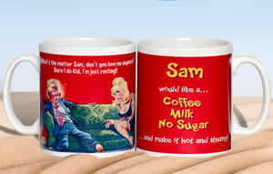 Personalised Gifts  - Just Resting Saucy Postcard Mug for Him