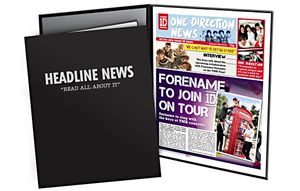 Personalised Gifts  - One Direction Personalised Newspaper Page in Folder