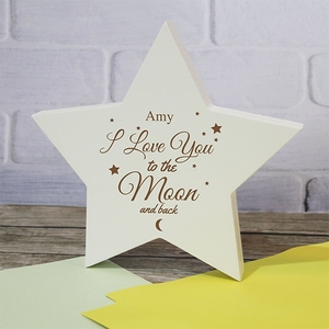 Personalised to The Moon and Back Wooden Star Sign