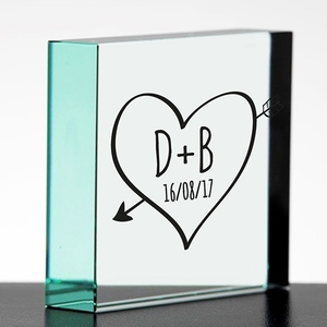 Sketch Heart Personalised Glass Block