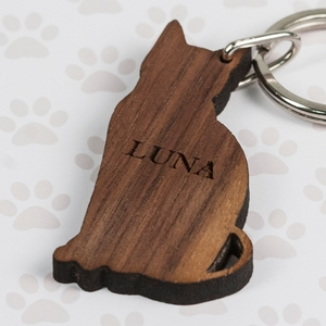 Gifts for Men  - Walnut Wood Cat Shaped Keyring