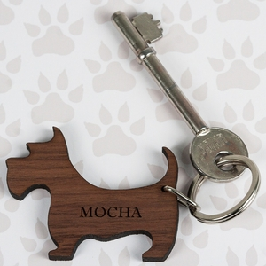 Gifts for Men  - Walnut Wood Dog Shaped Keyring
