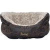 Barkshire Faux Leather Oval Snuggle Dog Bed - 55 x 43cm