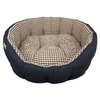 Earthbound Classic Jean & Gingham Dog Bed Small Brown - 45x40cm