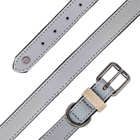 Collars  - James & Steel Sotnos Aquatech Reflective Dog Collar - Grey - 20-26cm