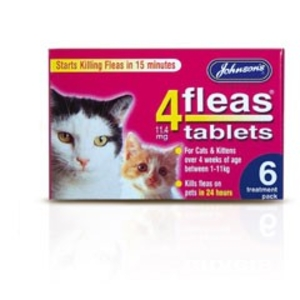 Health & Hygiene  - Johnsons 4fleas Cat Tablets Pack of 6