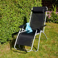 Ellister Royale Premier Sun Lounger - Black with Silver Frame