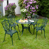 Garden Furniture  - Ellister Stamford 4 Seater Dining Set - Dark Green