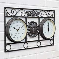 Garden Equipment  - Wall Frame Sun Clock and Thermometer Black - 54.5cm Width