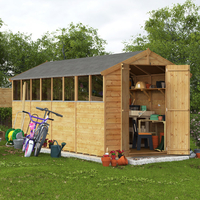Garden Houses & Buildings  - 16x6 Overlap Apex Shed - BillyOh Keeper Windowed