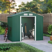 Sheds  - 7x4 BillyOh Ranger Apex Metal Shed With Foundation Kit - Dark Green