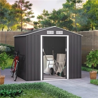 Sheds  - 7x6 BillyOh Ranger Apex Metal Shed With Foundation Kit - Dark Grey