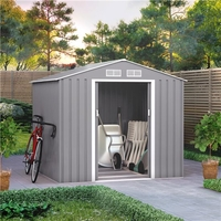 Sheds  - 7x6 BillyOh Ranger Apex Metal Shed With Foundation Kit - Light Grey
