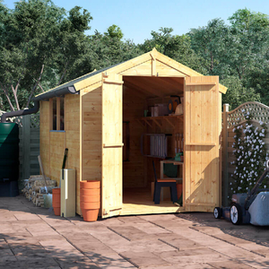 BillyOh 10x6 Master Tongue and Groove Apex Windowed Double Door Shed including Floor,  Roof,  Felt - 10x6 Windowed