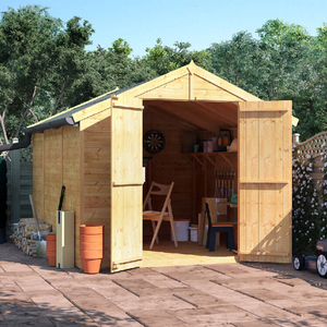 BillyOh 10x8 Master Tongue and Groove Apex Windowless Double Door Shed including Floor,  Roof,  Felt - 10x8 Windowless