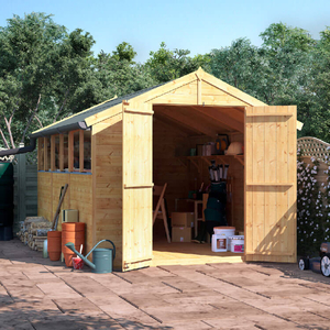 BillyOh 12x8 Master Tongue and Groove Apex Windowed Double Door Shed including Floor,  Roof,  Felt - 12x8 Windowed