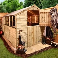 Sheds  - BillyOh Classic Pressure Treated Overlap Stable Door Apex Garden Shed 12 x 6