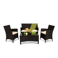 Garden Furniture  - BillyOh Holkham Rattan 4 Seat Sofa Set - Includes Cushions - Black 4 Seater Rattan Lounge Set