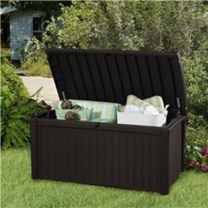 Garden Equipment  - Keter Borneo Rattan Style 400L Garden Storage Box Brown - Keter Rattan Style Storage Box