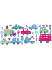 Beep Beep Cars and Vehicles Stikarounds Wall Stickers 24 pieces