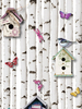 Bird Box and Butterfly Wallpaper White Muriva 102549