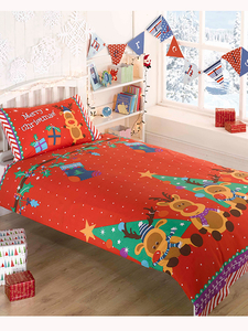 Duvet Covers  - Christmas Reindeer Double Duvet Cover and Pillowcase Set