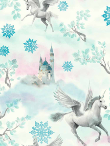 Wallpaper  - Fairytale Unicorn Wallpaper Blue Arthouse 667800