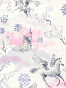 Wallpaper  - Fairytale Unicorn Wallpaper Lilac Arthouse 667801