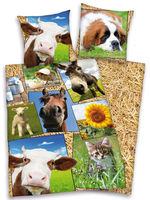Household & Kitchen  - Farmyard Animals Duvet Cover and Pillowcase Set