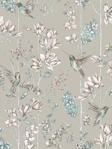 Home & Garden|Wallpaper|Arsenal London  - Floral Charm Hummingbird Wallpaper Soft Gold Holden 12394